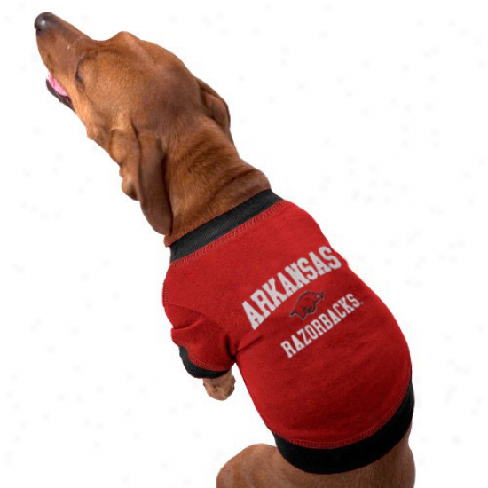 Arkansaw Razorbacks Cardinal Collegiate Dog T-shitr