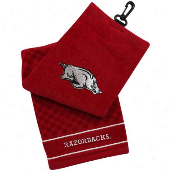 Arkansas Razorbacks Cardinal Embroidered Team Logo Tri-fold Towel