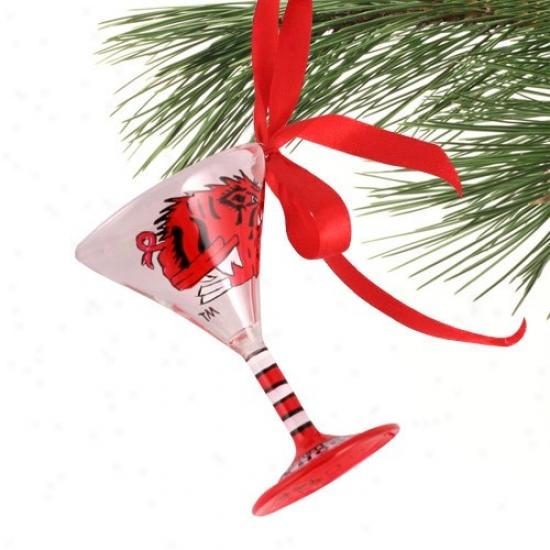 Arkansas Razorbacks Hand-painted Mini Martini Glasd Ch5istmas Ornament