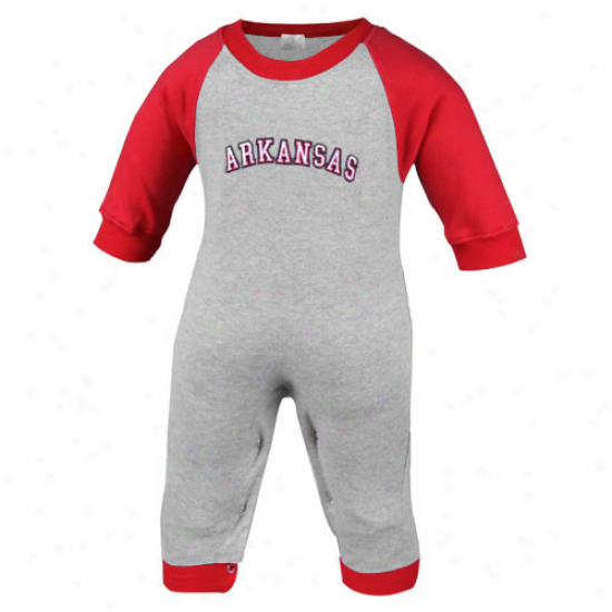 Arkansas Razorbacks Infant Ash-cardinal Long Sleeve Raglan Romper