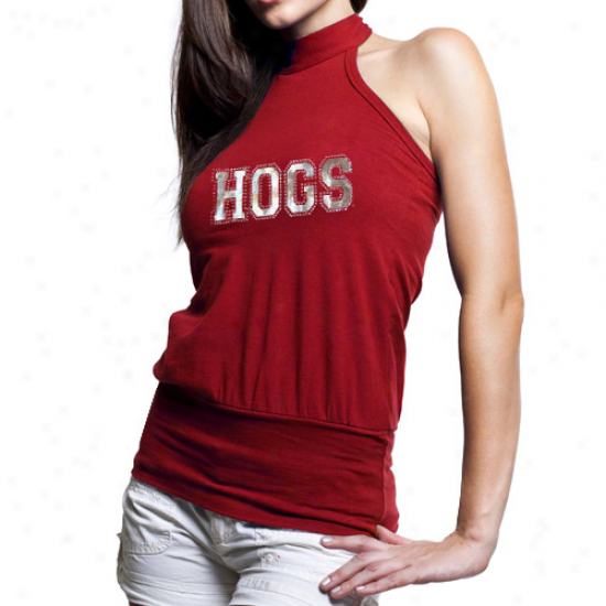 Arkansas Razorbacks Ladies Cardinal Bloused Premium Hlater Top