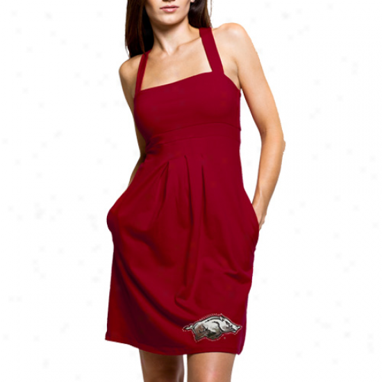 Arkansas Razorbacks Ladies Cardinal Pleated Dress