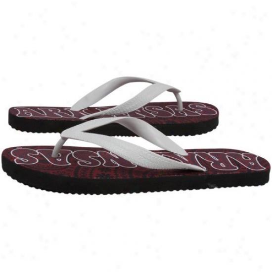 Arkansas Razorbacks Ladies Cardinal-white Vintage Paisley Flip Flops