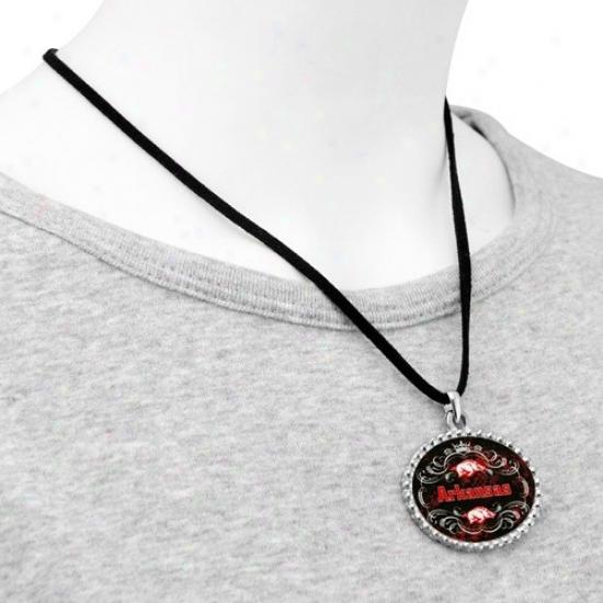 Arkansas Razorbacks Ladies Silvertone Oval & Dignity Suede Necklace