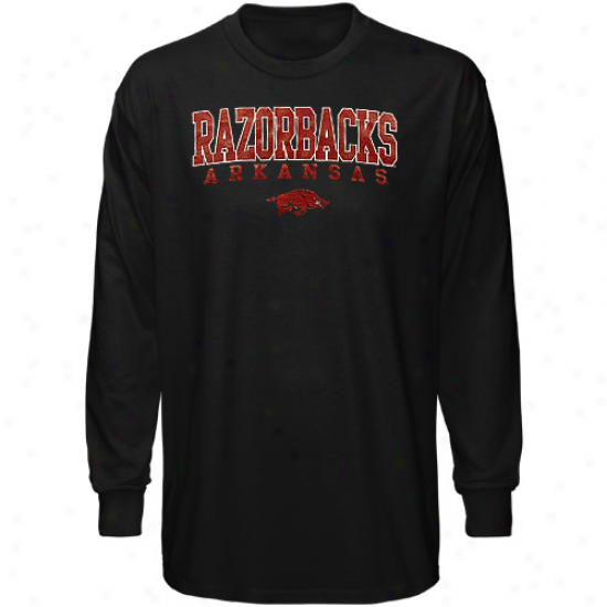 Arkanszs Razorbacks Long Sleeve Crosby T-shirt - Bkack