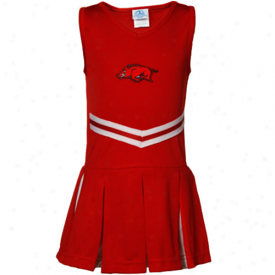 Arkansas Razorbacks Toddler Girls Cardinal Cheerleader Dr3ss