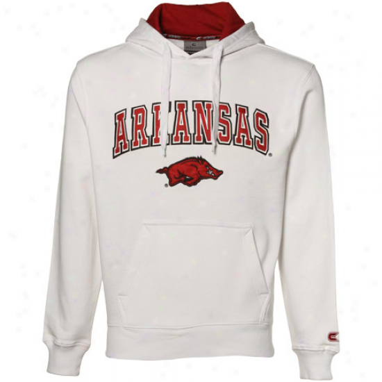 Arkansas Razorbacks White Automatic Hoody Sweatshirt