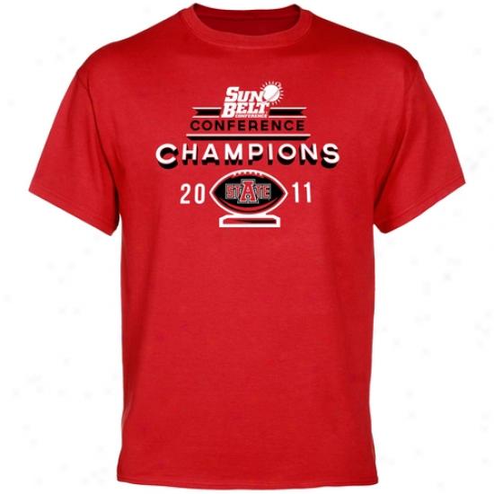 Arkansas State Red Wolves 2011 Sun Belt Football Champions T-shirt - Scarlet