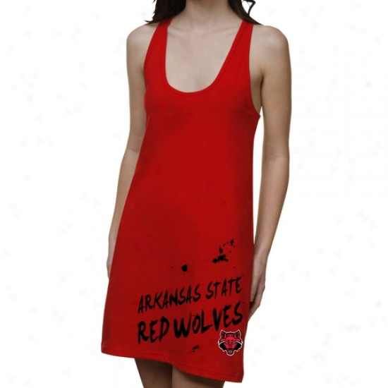 Arkansas State Red Wovles Ladies Paint Strokes Junior's Racerback Dress - Red