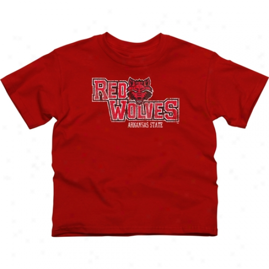 Arkansas State Red Wolves Youth Distressed Primary T-shirt - Scarlet -