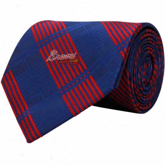 Atlanta Braves Royal Blue-red Poly Plaid Woven Tie