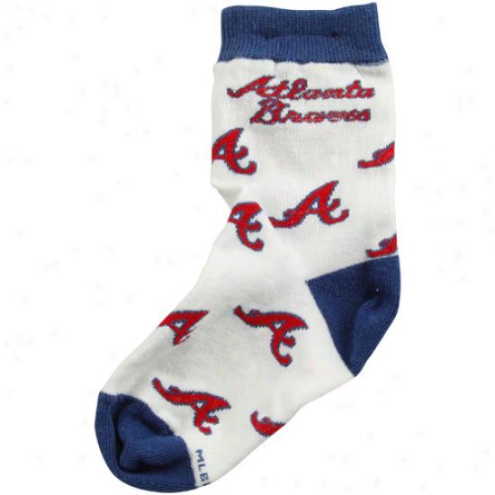 Atlanta Braves Toddler Allover Crew Socks - White