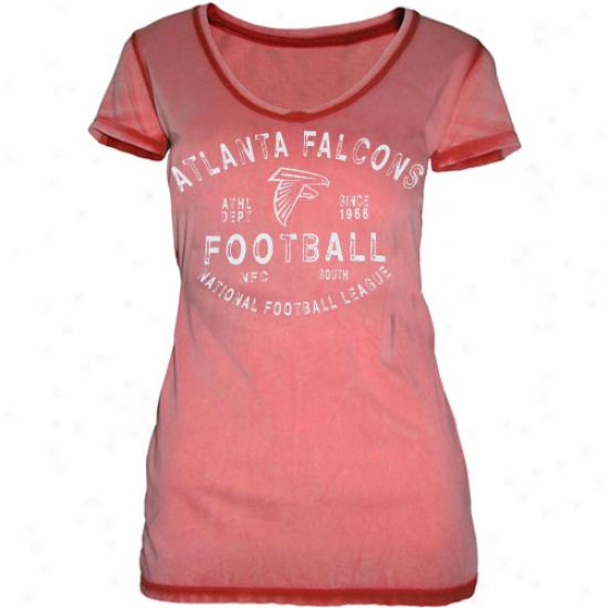 Atlanta Falcons Ladies Football Freeze Seam Wash Premium V-neck T-shirt - Red