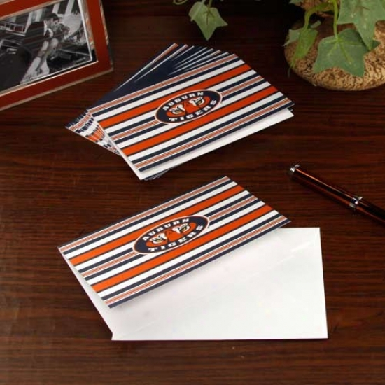 Auburn Tigers 10-pack Striped Folded Note Cards