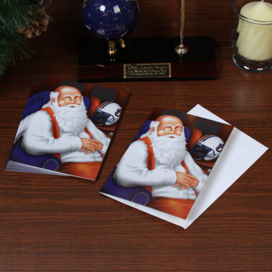 Auburn Tigers 12-pack Single Santa Napping Design Christmas Cards