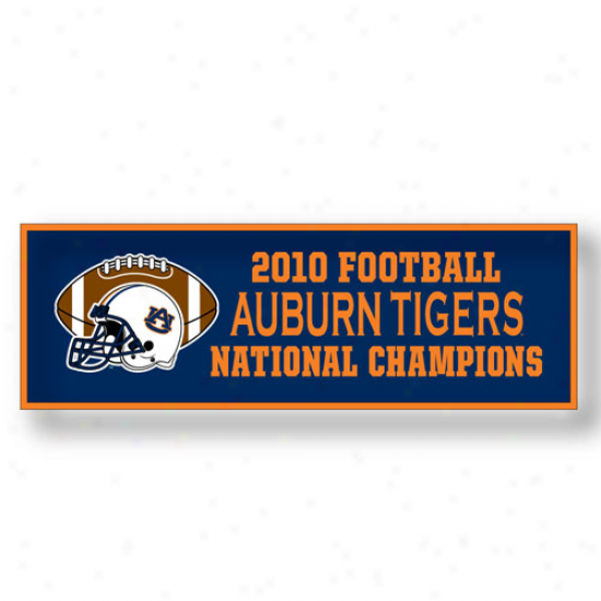 """auburn Tigers 12"""" X 36"""" 2010 Bcs National ChampionsN avy Blue Flag"""