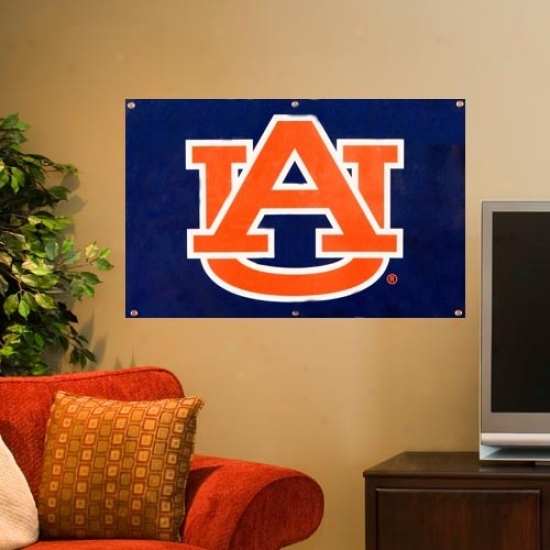 Auburn Tigers 2' X 3' Navy Blue Applique Logo Fan Banner