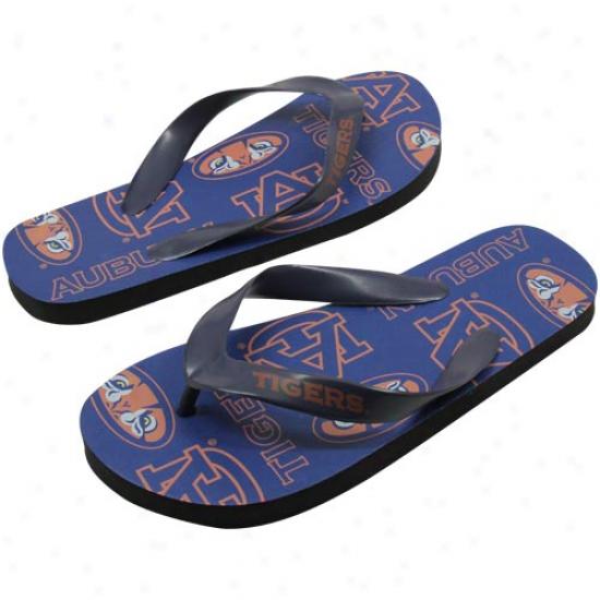 Auburn Tigers Ladies Navy Blue Team Print Flip Flops