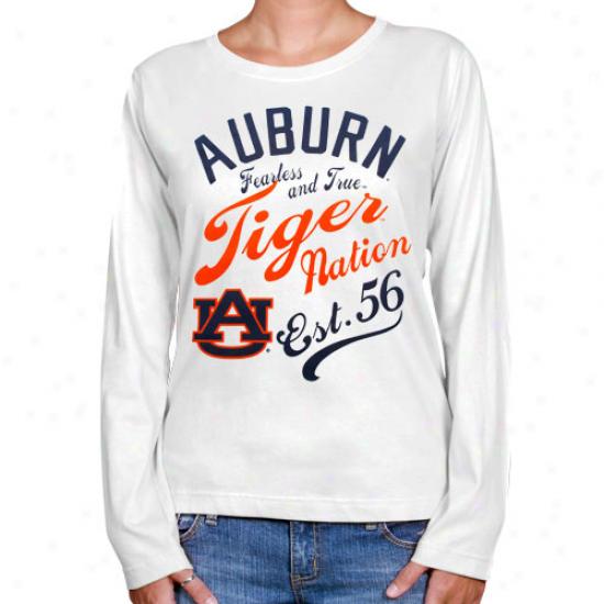 Auburn Tigers Ladies Splashy Long Sleeve T-shirt - White