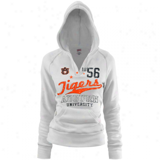 Auburn Tigers Ladies White Rugby Distressed Deep V-neck Hoody Sweatshirt