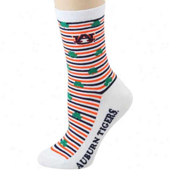 Auburn Tigers Ladies White St. Patrick's Day Crew Socks