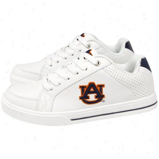 Auburn Tigers Ladies White Team Logo Leather Tenhis Shoes