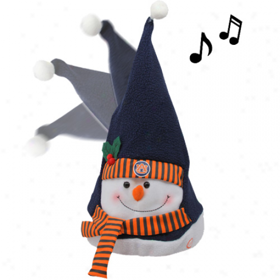 Auburn Tigers Navy Blue Animated Musical Snowman Hat