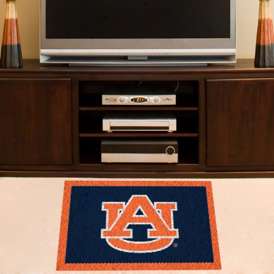 Auburn Tigers Orange-navy Blue 18'' X 30'' Handmade Hooked Rug