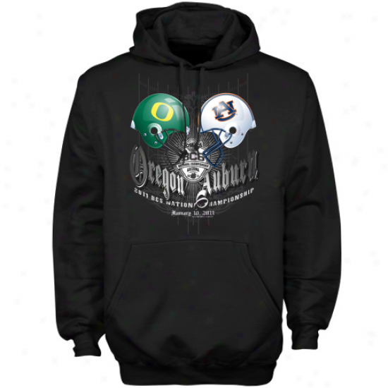 Auburn Tigers Vs. Oregon Ducks Black 2011 Bcs National Championship Dueling Helmets Hoody Sweatshirt