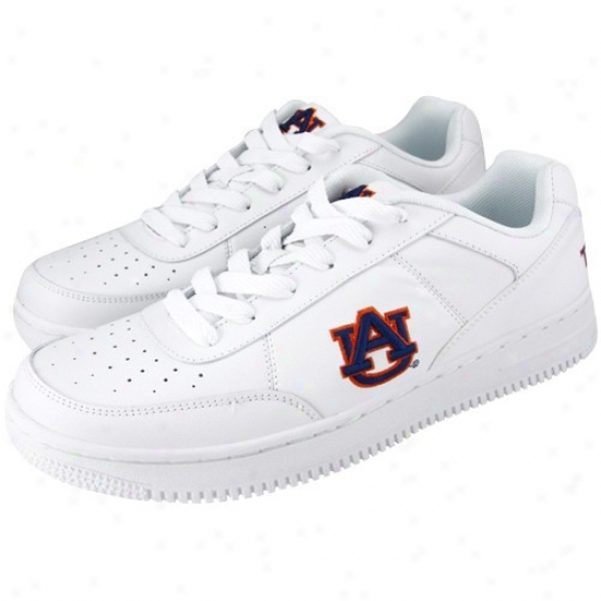 Auburn TiversW hite Team Logo Leather Tennis Shoes