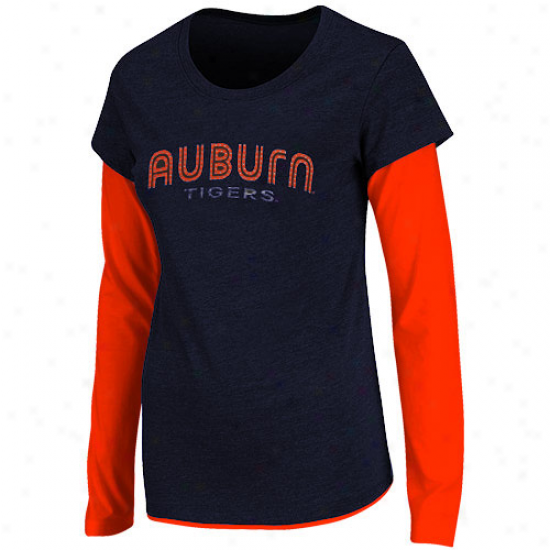 Auburn Tigers Womens Cascade Double Layer T-shirt - Navy Blue
