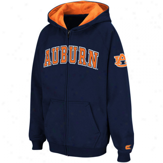 Auburn Tigers Youth Navy Blue Automatic Full Zip Hoodie Sweatshirt