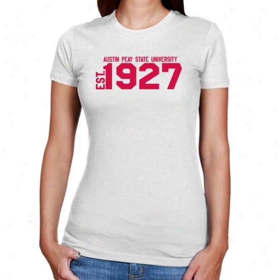 Austin Peay State Governors Ladies White Est. Date Slim Fit T-shirt