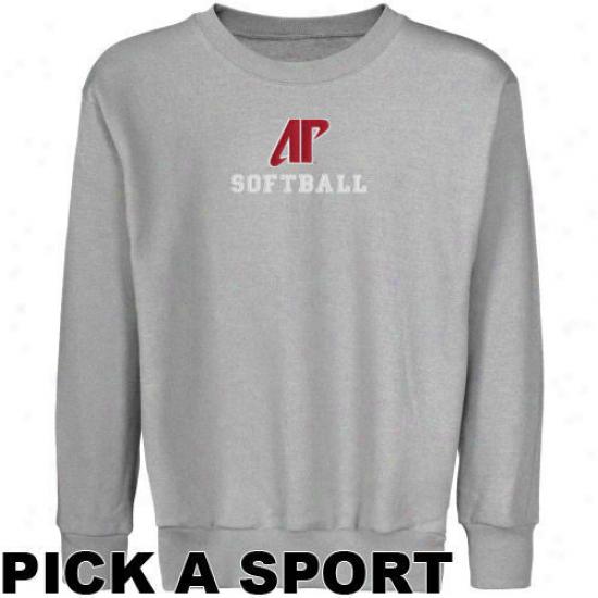 Austin Peay State Governors Youth Ash Custom Sport Logo Applique Crew Neck Fleece Sweatshirt