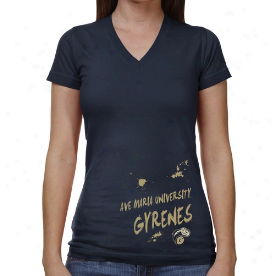 Ave Maria Gyrenes Ladies Paint Strokes V-neck T-shirt - Navy Blue