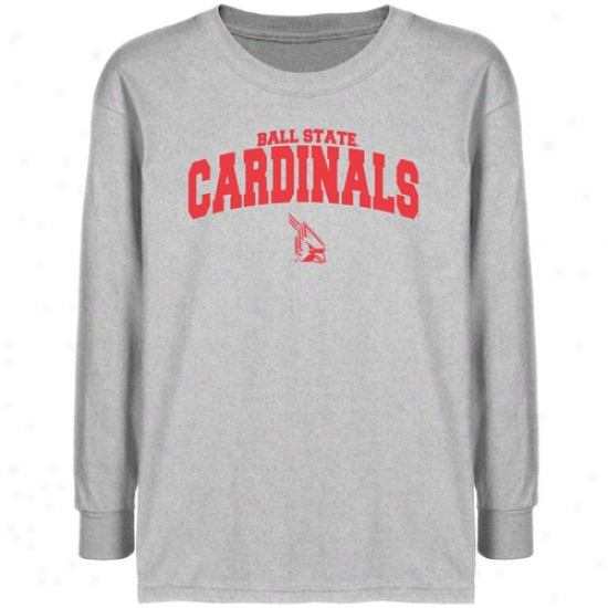 Ball State Cardinals Youth Ash Logo Arch T-shirt