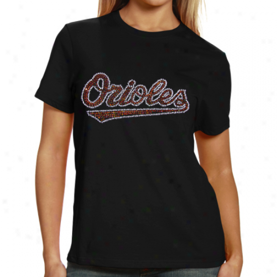 Baltimore Orioles Ladies Sequin Jersey Logo Premium T-shirt - Black