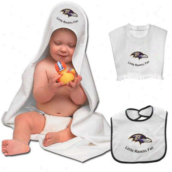 Baltimore Ravens 3-piece Hooded Bath Towel And Bibs Set