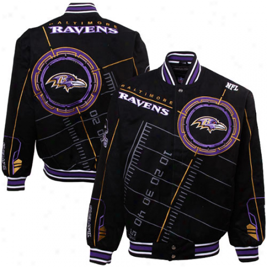 Baltimore Ravens Black On Point Midweight Twill Full Button Jacket