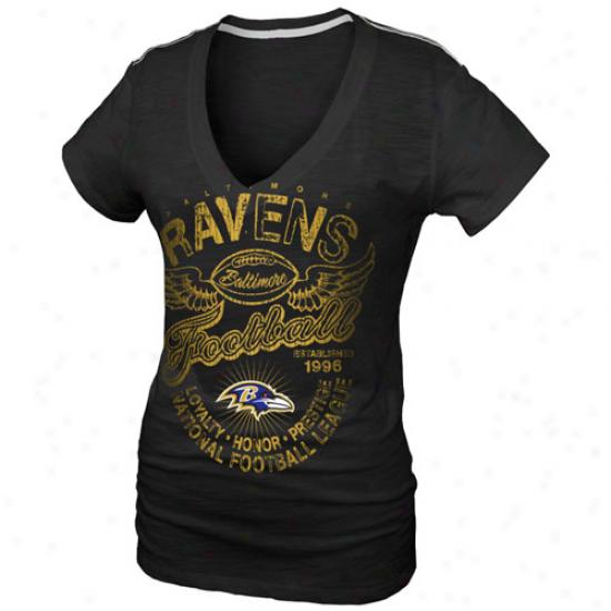 Baltimore Ravens Ladies Gunner Glitz T-shirt - Black