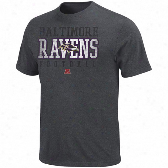 Baltimore Ravens Posted Victory Heathered Premium T-shir5 - Charcoal
