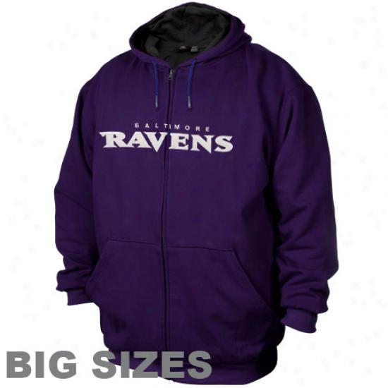 Baltimore Ravens Purple Big Sizes Thermal Fleece Full Zip Hoodie Sweatshirt