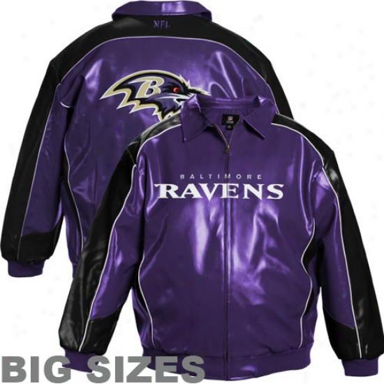 Baltimore Ravens Purple-black Pleather Varsity Team Big Sizes Full Zip Jacket