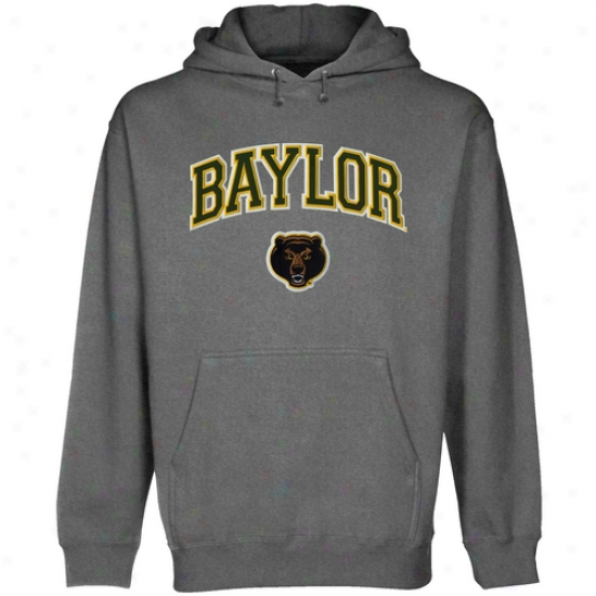 Baylor Bears Gunmetal Logo Arch Applique Midweight Pullover Hoody