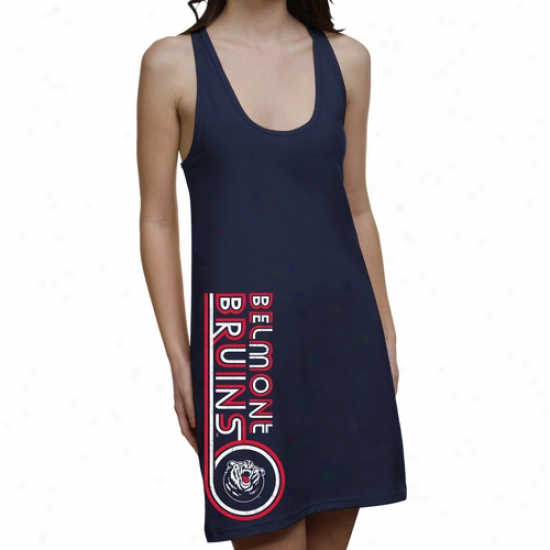 Belmont Bruins Ladies Retro Junior's Racerback Dress - Navy Blue