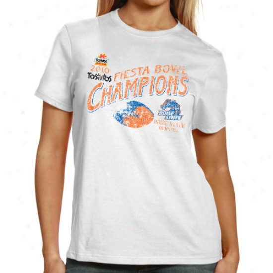 Boise State Broncos Ladies White 2010 Fiesta Bowl Champions Undefeated Distressed T-shirt