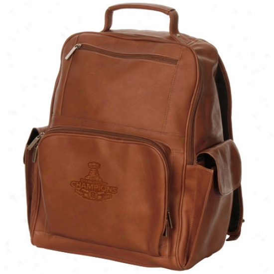 Boston Bruins 2011 Nhl Stanley Cup Championns Brown Deluxe Leather Laptop Backpack