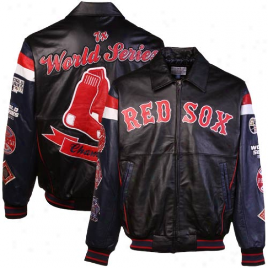 Boston Red Sox Black 7x World Series Champions Commemorative Varsity Lezther Jerkin