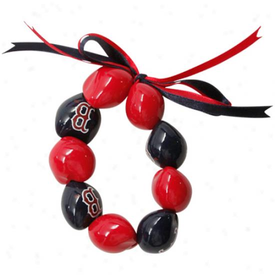 Bostton Red Sox Ladies Red-navy Blue Kukui Beaded Bracelet