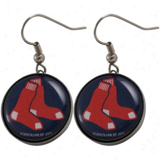 Bkston Red Sox Ladies Team Logo Charm Drop Earrings